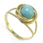 10k Solid Yellow Gold Turquoise Love Knot Ring