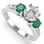 Colombian Emerald Diamond Ring in 14k gold