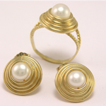 10k Gold Pearl Earrings and Ring