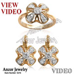 Russian Style Genuine 0.90 cwt Diamonds Set 14k