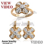 Russian Style Genuine 0.90 cwt Diamonds Set 18k
