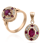 Russian Style Diamond Ruby Ring and Pendant 585