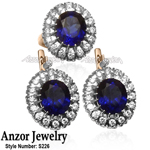 Russian Style Sapphire Diamond Jewelry Set 14K 585