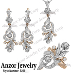 Russian Style Diamond Jewelry set in 14k 585