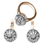 Russian Jewelry Diamond 14k Ring & Earring Set