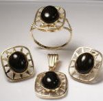 14k Gold Starburst Onyx Set